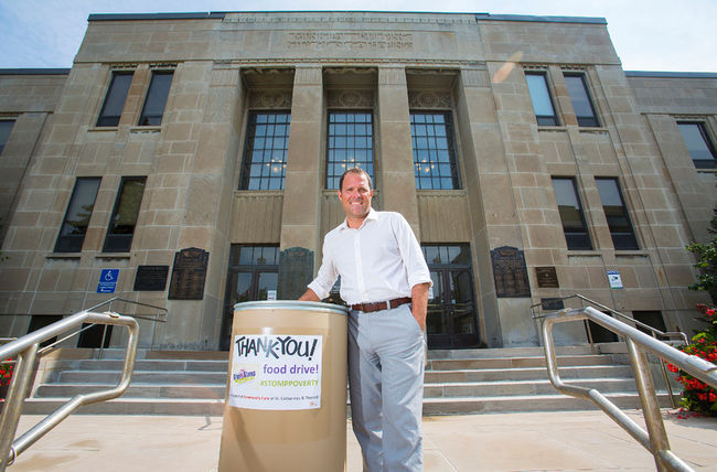 Mayor Sendzik in front of City Hall for the Stomp Poverty Campaign